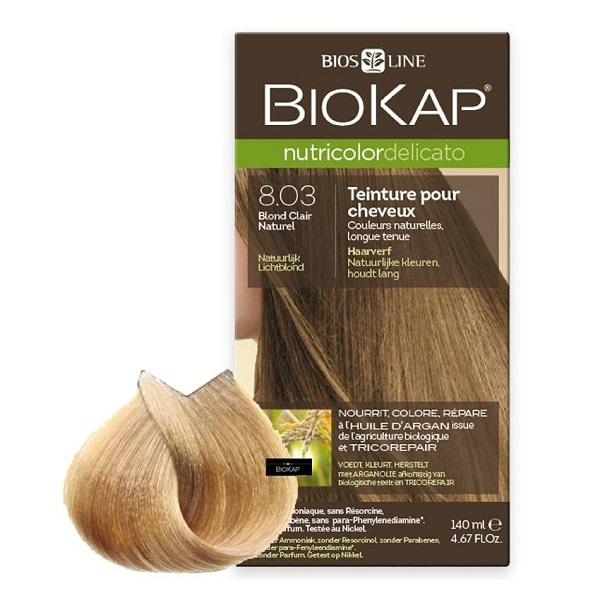Vopsea permanentă pentru păr Nutricolor Delicato, Nunaţa Natural Light Blond 8.03, 140 ml, Biokap
