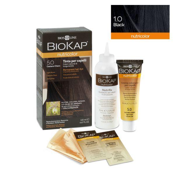 Vopsea permanentă pentru păr Nutricolor, Nuanţa Black 1.0, 140 ml, Biokap