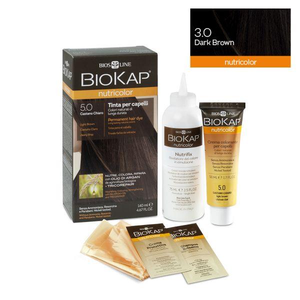 Vopsea permanentă pentru păr Nutricolor, Nuanţa Dark Brown 3.0, 140 ml, Biokap