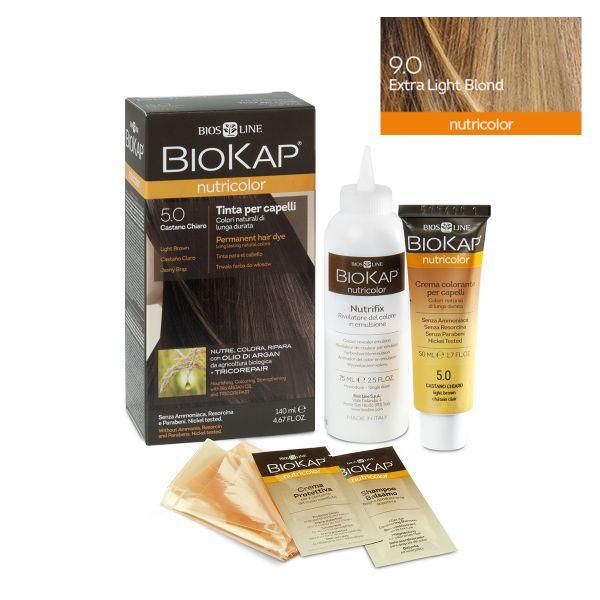 Vopsea permanentă pentru păr Nutricolor, Nuanţa Extra Light Blond 9.0, 140 ml, Biokap