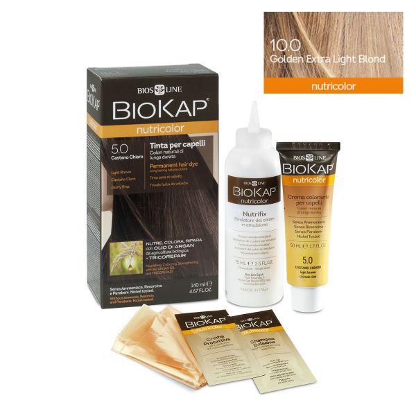 Vopsea permanentă pentru păr Nutricolor, Nuanţa Golden Extra Light Blond 10.0, 140 ml, Biokap