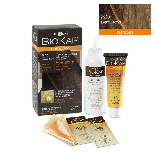 Vopsea permanentă pentru păr Nutricolor, Nuanţa Light Blond 8.0, 140 ml, Biokap