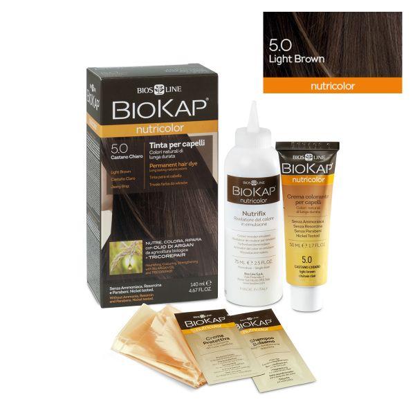 Vopsea permanentă pentru păr Nutricolor, Nuanţa Light Brown 5.0, 140 ml, Biokap
