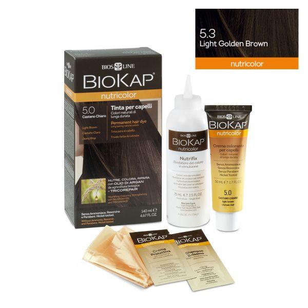 Vopsea permanentă pentru păr Nutricolor, Nuanţa Light Golden Brown 5.3, 140 ml, Biokap