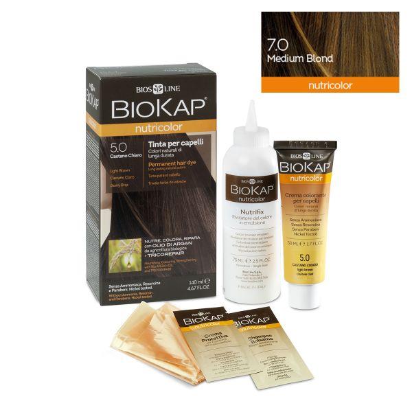 Vopsea permanentă pentru păr Nutricolor, Nuanţa Medium Blond 7.0, 140 ml, Biokap