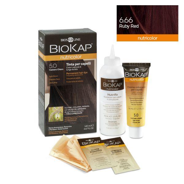 Vopsea permanentă pentru păr Nutricolor, Nuanţa Ruby Red 6.66, 140 ml, Biokap
