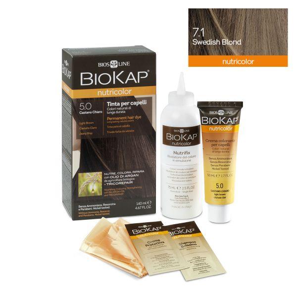 Vopsea permanentă pentru păr Nutricolor, Nuanţa Swedish Blond 7.1, 140 ml, Biokap