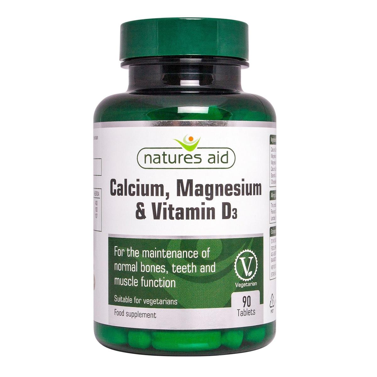 Calciu, Magneziu și Vitamina D3, 90 capsule, Natures Aid